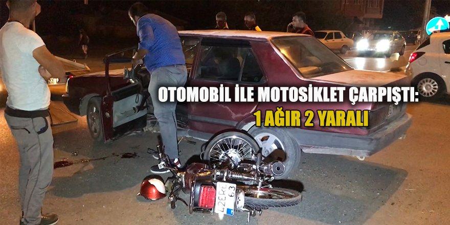 Otomobil İle Motosiklet Çarpıştı: 1 Ağır 2 Yaralı
