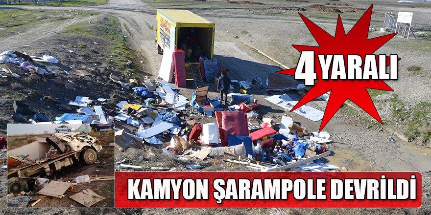 Kamyon Şarampole Devrildi: 4 Yaralı