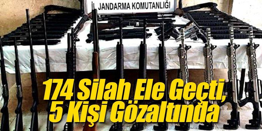 174 Silah Ele Geçti, 5 Kişi Gözaltında