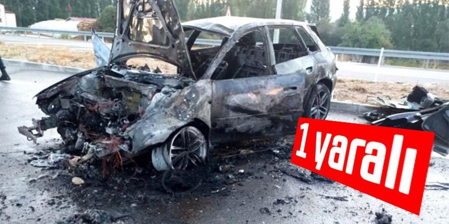 Devrilen otomobil alev aldı: 1 yaralı