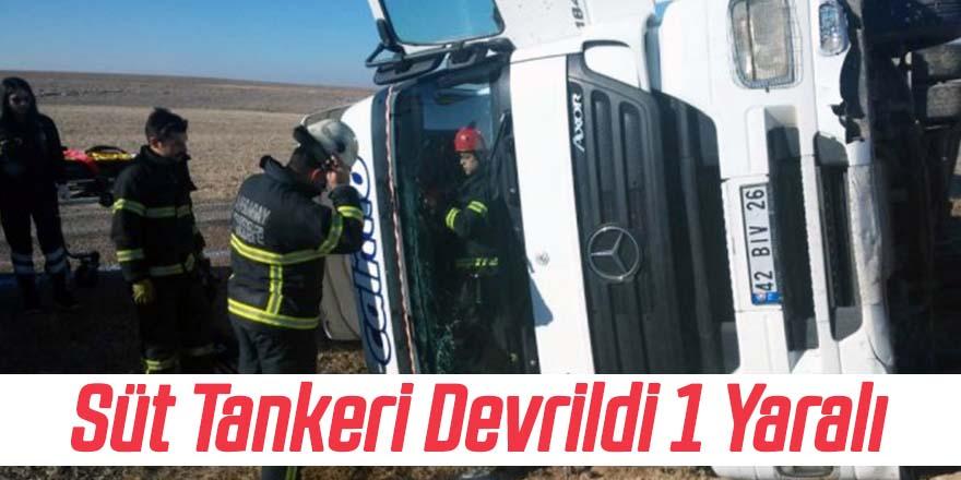 Devrilen tankerin kabininde sıkışan sürücüyü itfaiye çıkardı