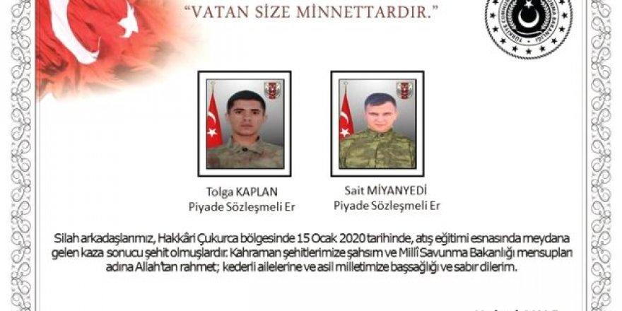 Eğitim kazası: 2 asker şehit, 2 asker yaralı