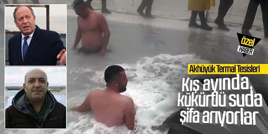 Kış ayında, kükürtlü suda şifa arıyorlar