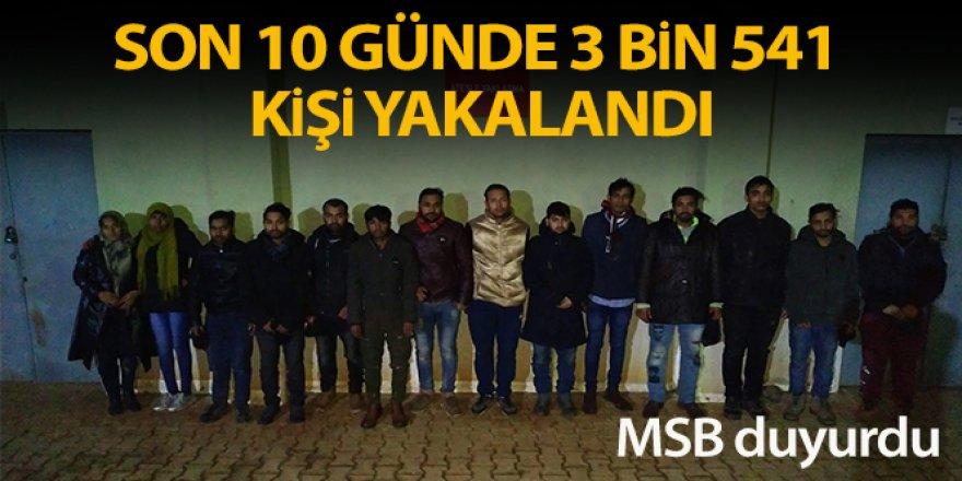 Son 10 günde hudutlardan yasa dışı geçmeye çalışan 3 bin 541 kişi yakalandı