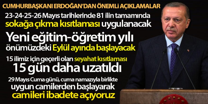 Cumhurbaşkanı Erdoğan: '23-24-25-26 Mayıs tarihlerinde 81 ilin tamamında sokağa çıkma kısıtlaması uygulanacak'