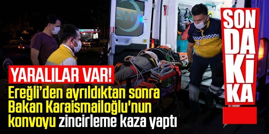 Bakan Karaismailoğlu'nun konvoyunda zincirleme kaza: 4 yaralı