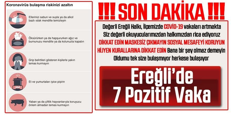 EREĞLİ'DE 7 KİŞİ'DE ''KORONOVİRÜS'' VAKASI