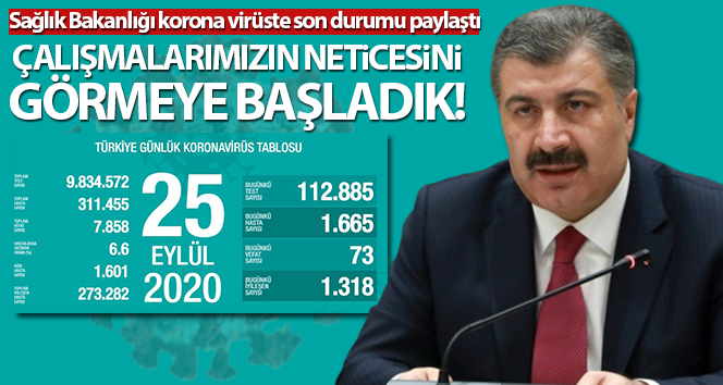 Türkiye'de son 24 saatte 1665 kişiye koronavirüs tanısı konuldu