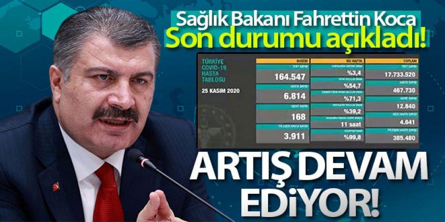 Türkiye'de 25 Kasım günü koronavirüs nedeniyle 168 kişi vefat etti, 28 bin 351 yeni vaka tespit edildi