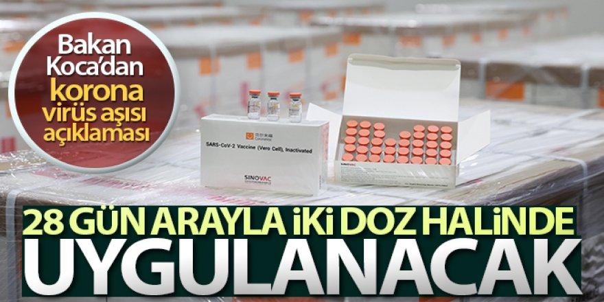 Bakan Koca: 'İnaktif aşının 28 gün arayla iki doz olarak yapılması uygun bulunmuştur'