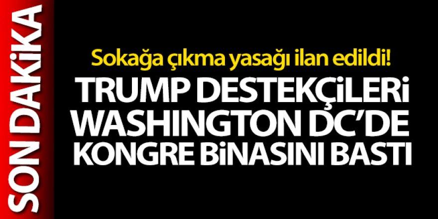 Trump destekçileri Washington DC'de Kongre binasını bastı! Sokağa çıkma yasağı ilan edildi