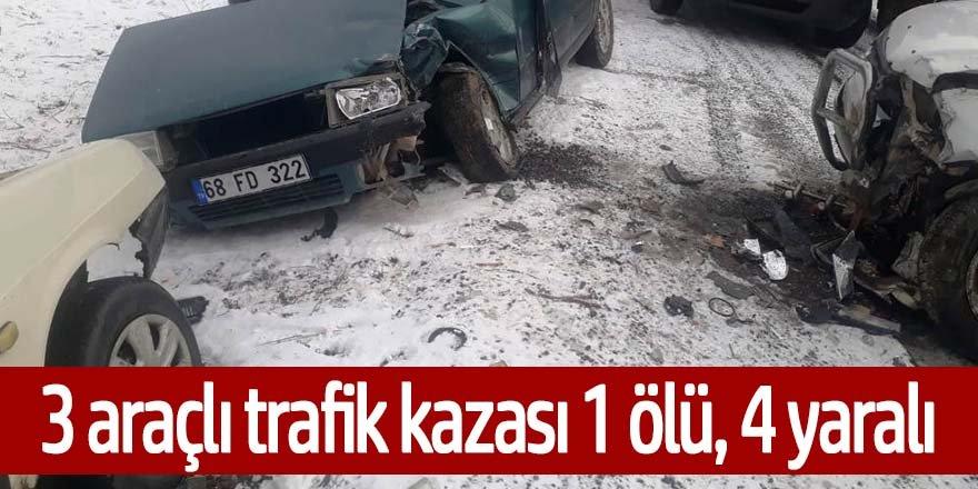 Ereğli'de 3 aracın karıştığı kazada 1 kişi öldü, 4 kişi yaralandı
