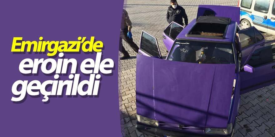 Emirgazi'de otomobilin el freni kutusunda eroin ele geçirildi