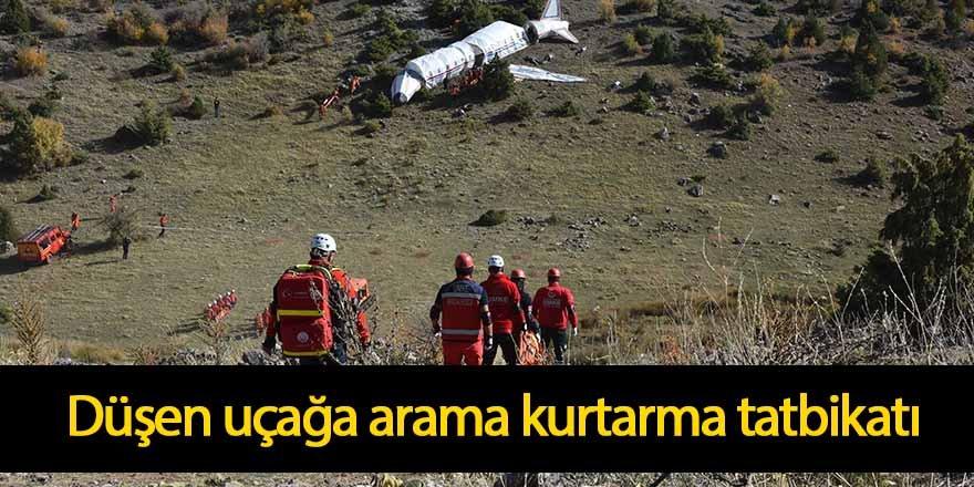Konya'da düşen uçağa arama- kurtarma tatbikatı