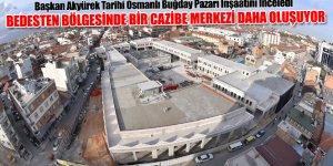Başkan Akyürek Tarihi Osmanlı Buğday Pazarı İnşaatını İnceledi