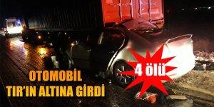 Otomobil TIRA Çarptı: 2'si Çocuk 4 Kişi Öldü.
