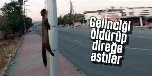 Konya'da, gelinciği boynundan direğe astılar