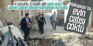 Halkapınar'da evin çatısı çöktü