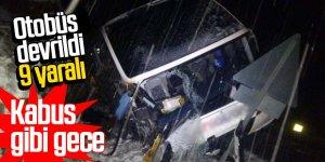 Yolcu otobüsü devrildi: 9 yaralı