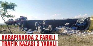 Karapınar'da iki farklı kaza toplam 3 yaralı