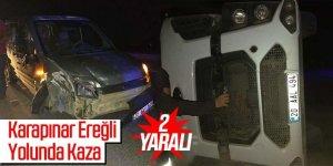 Kamyon ile kamyonet çarpıştı: 2 yaralı