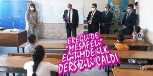 """EREĞLİ'DE """"MESAFELİ"""" EĞİTİMDE İLK DERS ZİLİ ÇALDI"""