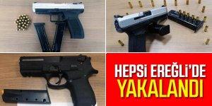 Ereğli'de Polis ekipleri 3 adet tabanca ele geçirdi