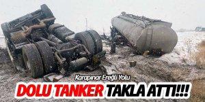 Kontrolden çıkan tanker takla attı sürücüsü yaralandı