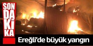 Ereğli'de korkutan büyük yangında saman balyaları yandı