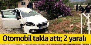 Otomobil takla attı, motoru fırladı: 2 yaralı