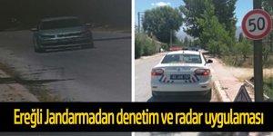 Ereğli Jandarma trafikten radarla hız denetimi