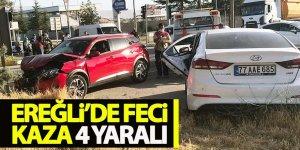 Ereğli'de otomobiller çarpıştı; 4 yaralı