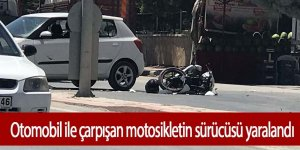 Motosiklet ile otomobil çarpıştı; 1 yaralı