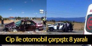 Cip ile otomobil çarpıştı: 8 yaralı